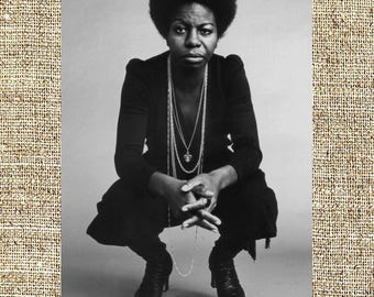 Nina Simone photograph, black and white photo print, vintage photograph, rip Nina Simone, jazz art decor, gift for him or her