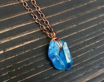 Aqua Aura Quartz Copper Necklace