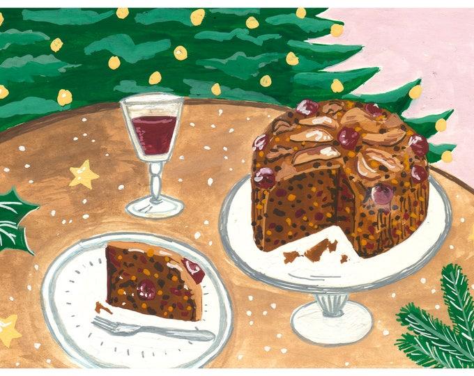 Christmas Cake - Limited Edition Mini Print A5