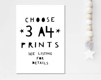 Set Of 3 Prints Mix and Match Wall Art Nursery Wall Art Home Decor Wall Prints Set Of Prints Set Of Wall Art Nursery Decor