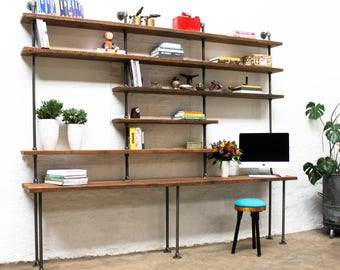 Susannah Bespoke Chestnut Stained Recycled Scaffolding Boards and Dark Steel Pipe Desk and Adjustable Shelves - www.urbangrain.co.uk