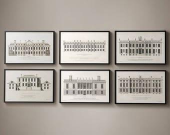 18TH C. ENGLISH TOWNHOUSE Complete Set of 6, Colen Campbell, Vintage Architectural Prints, Old Blueprints, Classical Art, Architecture Plans