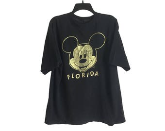 Vintage Mickey Mouse Florida Metallic Gold Print Black T-Shirt Large