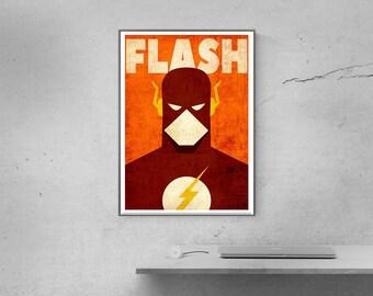 Poster superheros, FLASH print, Minimalist Vintage Poster, Superheroes Minimalist print, Comics posters, Flash logo, Speedsters poster