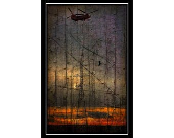 Helicopter Lineman Art Print #025-1 Weathered Grunge Style 11x17 Print