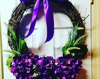 Purple Wreath, Purple Flowers, Summer Wreaths For Front Door, Grapevine Wreath, Hydrangea Wreath, Door Wreath, Summer Wreath, Floral Wreath