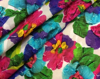 Cotton italian fabric, dress blouse florals printed fabric, haute couture fabric, designer fashion, made in Italy