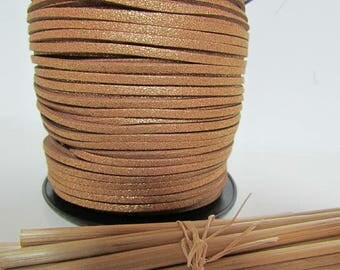 3 m cord 3 x 1.5 mm - Brown glittery gold, silver - 16