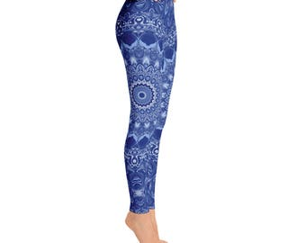 Blue Printed Leggings for Yoga and Fashion - Womens Leggings, Workout Stretchy Yoga Pants
