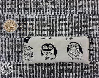Eye pillow with Lavender Amma Therapy   Meditation Cushion & Relaxation   Organic Pearled barley   Cotton canvas   Black owl print