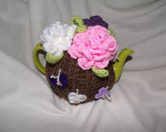 Crochet flower tea cosy for a six cup teapot, butterfly,beads,brown