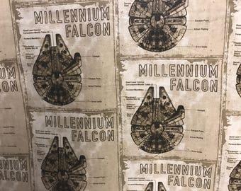 Star Wars Millennium Falcon Spaceships fabric, movie fabric, spaceship fabric, licensed fabric, Star Wars fabric