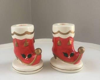 Vintage Napcoware Stocking Candleholders-pair