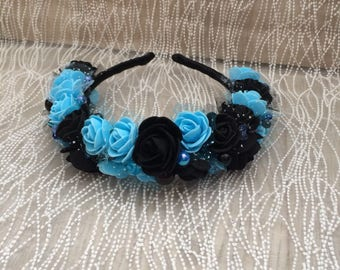 Floral hairband with black and blue roses.  For special occassions wedding party hen party and birthday