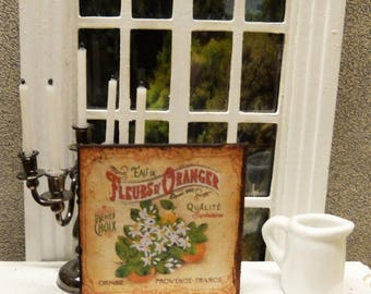 """Orange Blossom"" Miniature wall plate - 1/12 scale - Dollhouse Miniature decorative accessory"