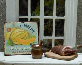 """MELON CAVAILLON"" Miniature Decorative plate - 1/12 scale - Dollhouse Miniature decorative accessory"