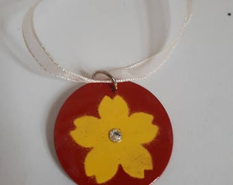 Enamelled Floral Necklace and Earring Set