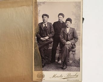 European CDV of Three Fashionable Gents in Fur Hats, 19th Century Antique Photograph