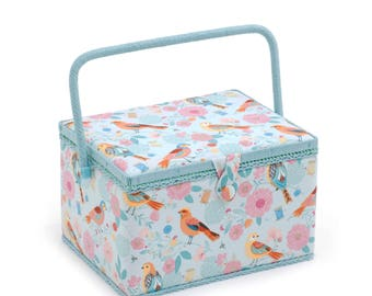 Hobbygift Large Size Birdsong Pattern Sewing Storage Basket