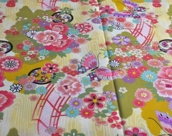 "Pretty Japanese fabric ""Flower-Butterfly"" 100% cotton (50cm x 110cm)"
