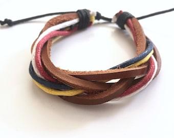 Leather bracelet, Men bracelet, Women bracelet, Unisex bracelet, Gift for him & her, Mixed bracelet, Braid bracelet, Ajustable bracelet