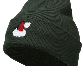 Christmas Hat Embroidered Long Beanie