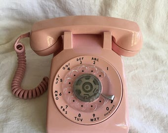 Vintage Pink Bell Rotary Desk Phone, 1970s Decor, Shabby Style, Mid Century Telephone