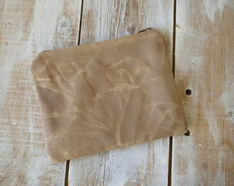 Beige Zippered Pouch,Waxed Canvas Zippered Pouch,Waxed Canvas Bag,Waxed Canvas Clutch,Canvas zipper pouch,Beige Coin Purse,Canvas Coin Purse
