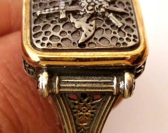 Hand made ottomane Turkish Arab Muslim style 925 sterling silver man ring without stone 12.5 USA size