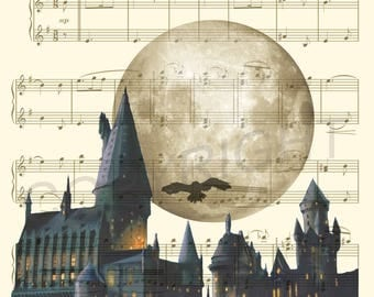 Harry Potter Hogwarts Sheet Music Art Print