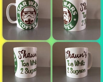 personalised mug cup any name storm trooper star wars starbucks style