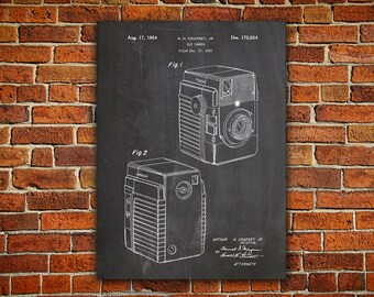 Camera Art Canvas painting, Retro Camera, Camera Patent Poster, Camera Wall Print, Vintage Camera Decor, Brownie Camera Art, Decor