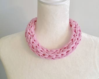 I-Cord Necklace // Braided Fabric Necklace // THE GEORGIA // Classic Pink