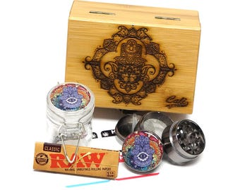 "Hamsa Laser Etched Sacred Geometry Stash Box, 1.6"" Zinc Alloy Grinder, Small Stash Jar - ALL IN ONE Box Package Item# WBCS111617-6"