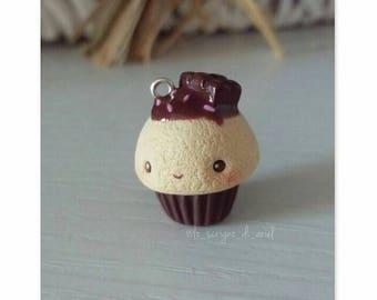 Kawaii chocolate cupcake - polymer clay cupcake charm