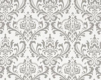 Grey Damask Fabric by Premier Prints Madison Storm Twill by the Yard