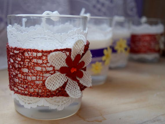 Handmade, scented soy wax votive candle, lace band, decorated, glass container, housewarming gift, table center, party decoration