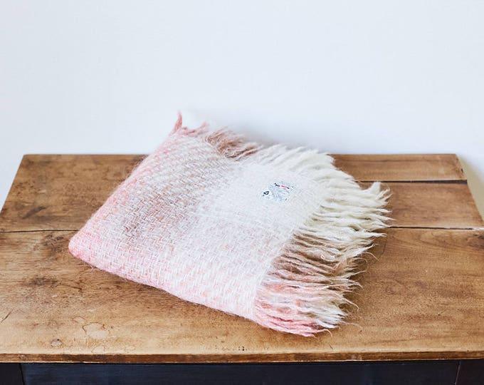 Vintage Avoca Pink Mohair Lap Blanket