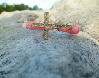 Women's Pink and Orange Cross bracelet