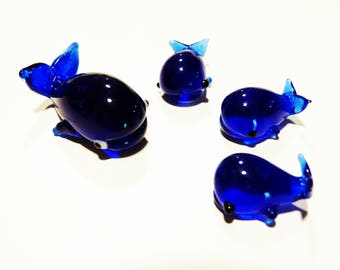 1 Hand-blown glass family of whales made in Murano in the '80s - glass art - blown glass art - home decor - nursery decor - children room