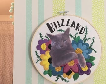 CUSTOM Pet Portrait Photo, Family Photo etc.  Embroidered Hoop Art - Use the Image of Your Choice