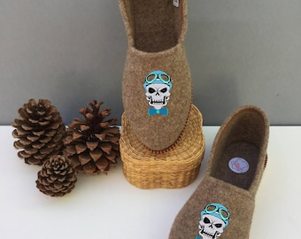 Heather brown color way slippers booties