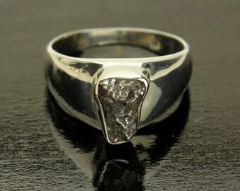 Meteorite Silver Ring, Genuine Meteor, Sterling Silver Band, Mens Ring