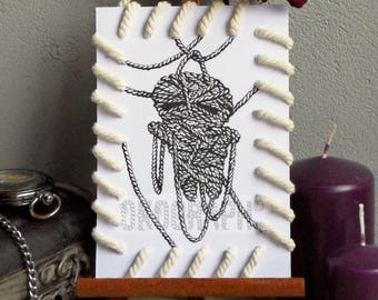Card design / style doll Mummy Matted with string effect 'bag' illustration, graphic manga / comic /sombre
