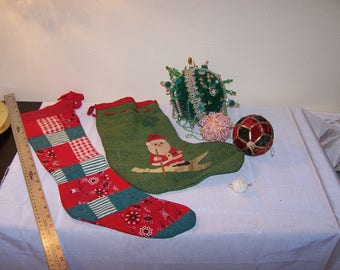Vintage Handmade Christmas stockings and Ornaments