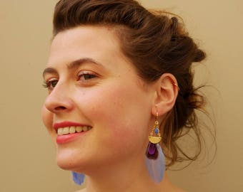 Blue feather with Moonstone and gold chain piece and drop earrings glazed blue, ethnic chic, Made in Paris