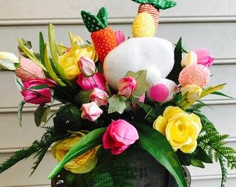 Easter centerpiece ,spring centerpiece ,bunny arrangements