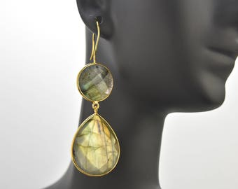 Labradorite Double Drop Bezel Earrings with Gold Plated Silver