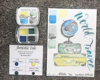 World Traveler, handmade watercolor set, cyan, blue, yellow, france, calligraphy, art, watercolor, painting, original, honey, organic,