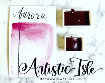 Aurora, pink, french red, handmade watercolor, northern light, watercolor painting, organic